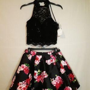 Juniors 2 pcs lace floral-Print fit &  flare dress